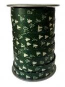 Vianočná špirálovacia stužka 10 mm stromčeky - zelená