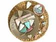 Plechové srdiečko 7 cm - malinové s prúžkami