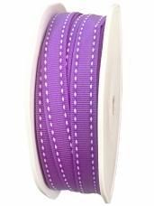 Látková stuha 10 mm - fialová so štepaním