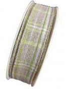 Károvaná ľanová stuha 20 mm s drôtom - prírodná