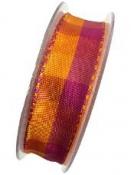 Károvaná stuha 25 mm s drôtom - oranžová