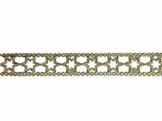 Luxusná látková stuha krojená 15 mm hviezdičky - zlatá
