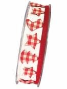 Stuha lemovka vianočná 25mm - červené káro