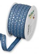 Vianočná stuha 15 mm s hviezdičkami - modrá