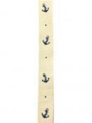 Bavlnená námornícka stuha s kotvou 17 mm - prírodná