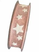 Vianočná stuha 25mm s hviezdičkami - staro-ružová