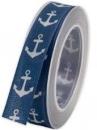 Bavlnená námornícka stuha s kotvou 25 mm - modrá