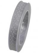 Vianočná stuha 10 mm s hviezdičkami - sivá