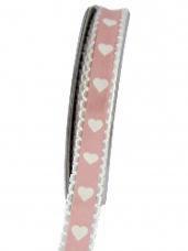 Bavlnená stuha krojená 15 mm srdiečka - ružová