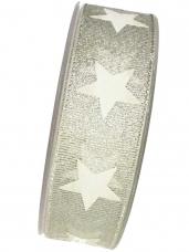 Vianočná stuha 25mm s hviezdičkami - strieborná