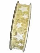 Vianočná stuha 25mm s hviezdičkami - zlatá