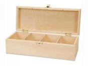Drevená krabica na čajové vrecúška - 4 priehradková úzka