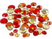 Nalepovacie štrasy kruhy - 360 ks - červené