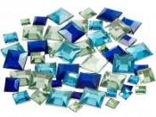 Nalepovacie štrasy štvorce - 360 ks - modré