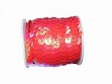 Perleťové flitre na šnúrke - pastelové červené
