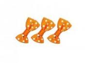 Textilná mašlička s bodkami 25 mm - oranžová