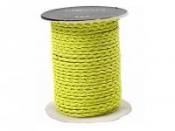 Zapletaná koženková šnúrka - 3mm - neónová žltá