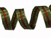 Vianočná károvaná stuha 15 mm - zlato zelená