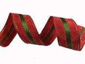 Vianočná stuha so zlatým štepovaním 25 mm - červená