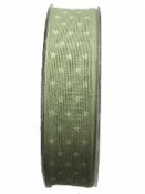 Vianočná bavlnená stuha s hviezdičkami 25mm- zelená rezeda