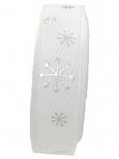 Bavlnená vianočná stuha 23 mm s vločkami - biela