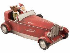 Vianočná dekorácia autíčko so Santom 18cm