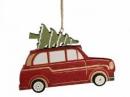 Vianočná dekorácia autíčko so stromčekom 14 cm