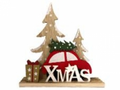 Vianočná drevená dekorácia autíčko X-MAS 26 cm