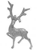 Vianočná ozdoba jeleň - strieborný gliter