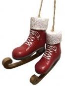 Vianočná dekorácia korčule 7 cm - červené