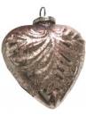 Sklenená vintage vianočná guľa 12 cm ružová - srdce