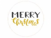 Okrúhla nálepka 4cm - Merry Christmas