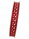 Organzová stuha 10 mm s hviezdičkami - červená