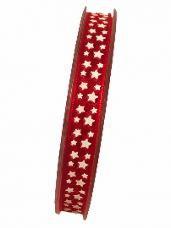36e296e22879 Organzová stuha 10 mm s hviezdičkami - červená