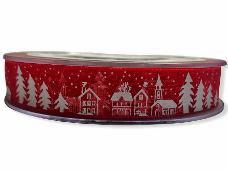 Vianočná organzová stuha dedinka 15mm - červená
