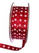 Saténová vianočná stuha 6 mm s hviezdičkami - červená