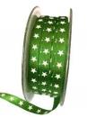 Saténová vianočná stuha 6 mm s hviezdičkami - zelená