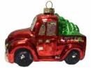 Vianočná sklenená guľa - autíčko