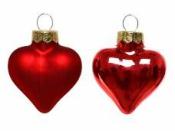 Sklenená vianočná ozdoba srdce 4 cm - červené matné