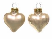 Sklenená vianočná ozdoba srdce 4 cm - šampanské zlaté lesklé