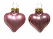 Sklenená vianočná ozdoba srdce 4 cm - staroružové matné