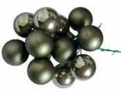 Vianočná sklenená guľa - zápich 3 kusy - lesklá starozelená