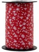 Vianočná špirálovacia stužka 10 mm s vločkami - červená