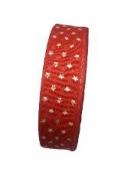 Vianočná bavlnená stuha s hviezdičkami 25mm-červená