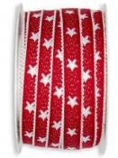 Ľanová vianočná stuha 12 mm s hviezdičkami - červená
