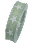 Vianočná stuha 25 mm hviezdičky - pastelová zelená