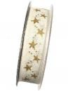 Vianočná stuha 25mm krémová so zlatými hviezdičkami