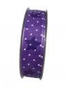 Látková vianočná stuha 25 mm - fialová s hviezičkami