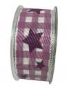 Látková vianočná stuha 40 mm - fialová s hviezičkami