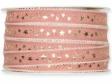 Vianočná ľanová stuha 15 mm s hviezdičkami - vintage ružová